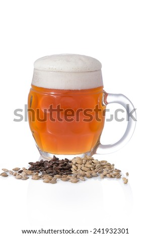 Light unfiltered beer with foam in a circle on white background with barley and malt - stock photo