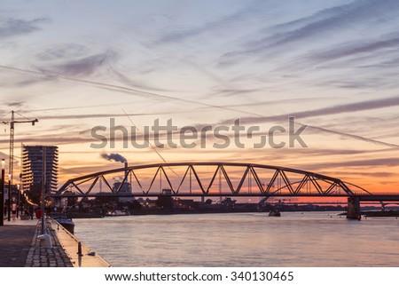 Light up bridge at dusk twilight - stock photo
