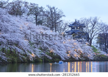 Light up of Takada Castle and Cherry blossoms, Niigata, Japan - stock photo