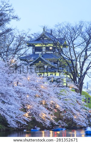 Light up of Takada Castle and Cherry blossoms, Niigata, Japan - stock photo