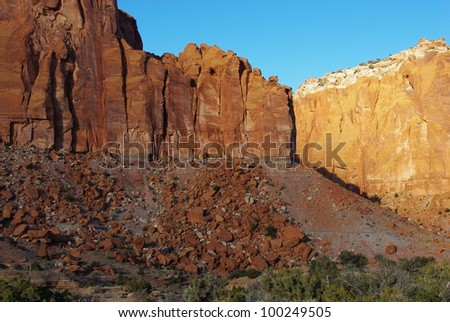 Light variations on beautiful red rock walls, Capitol Reef National Park, Utah