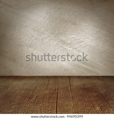 light wall and wooden floor interior background - stock photo