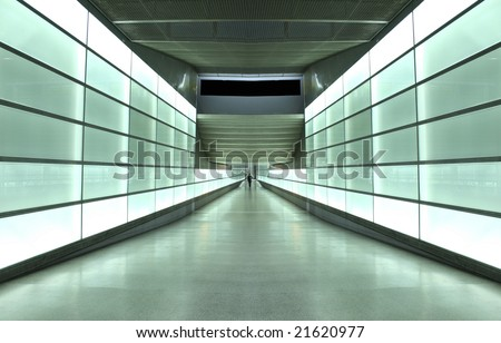 light wall tunnel in underground station in Berlin, Germany - stock photo