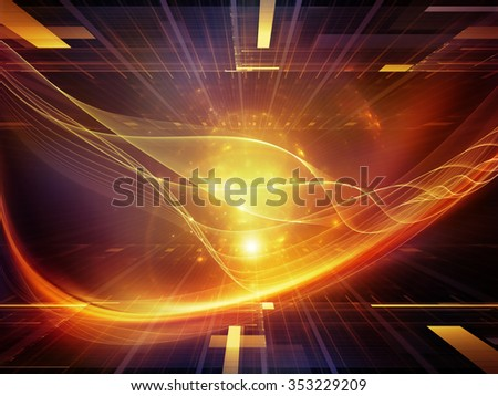 Light Waves series. Backdrop design of light curves and sine waves for works on design, science and modern technologies - stock photo