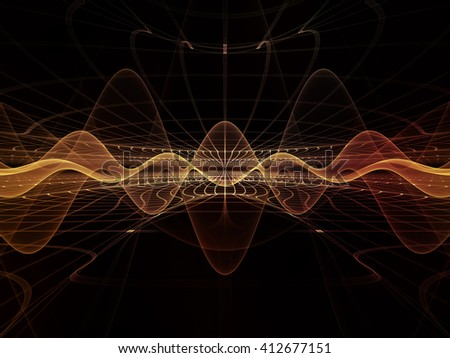 Light Waves series. Design made of light curves and sine waves to serve as backdrop for projects related to design, science and modern technologies - stock photo