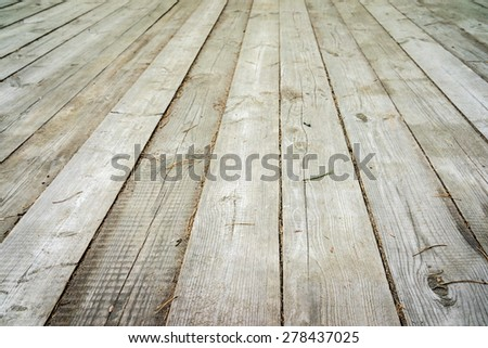 light wood background - perspective view wooden floor with thick desks - stock photo