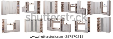 Light wooden cupboards Isolated on white. - stock photo