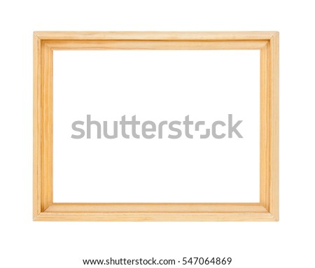Light wooden frame isolated on white background