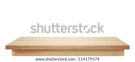 Light Wooden Tabletop. Table On White Background.