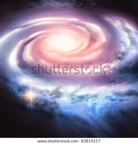 Light Years Away - Distant spiral galaxy. - stock photo