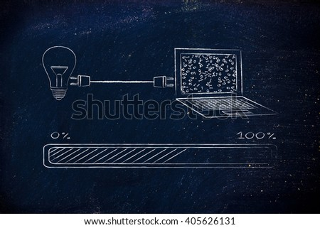 lightbulb and laptop connected by plug, with messy binary code being processed on the screen, concept of machine learning and artificial intelligence - stock photo