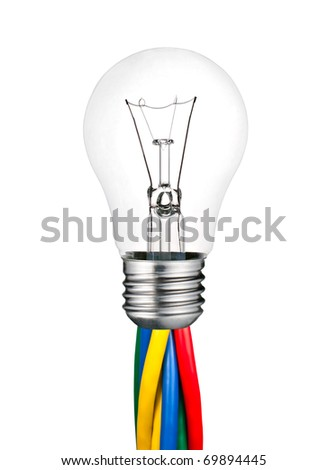 Lightbulb attached to Colored Cables Isolated on White Background. Ordinary Switched Off Screw Lightbulb Over White