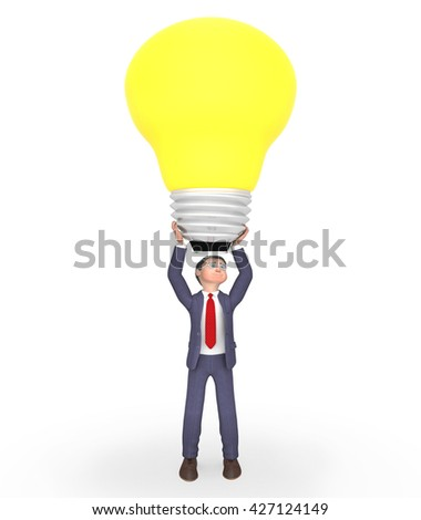 Lightbulb Businessman Meaning Power Source And Contemplate 3d Rendering