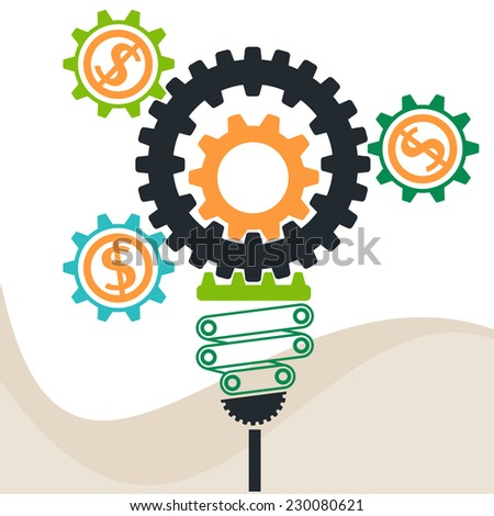 Lightbulb constructed of gears flat design style. Busines idea in gear symbols. Raster version - stock photo