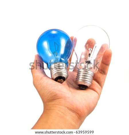 Lightbulb in a hand isolated on white background.