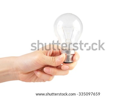 Lightbulb in hand Isolated on White Background - stock photo