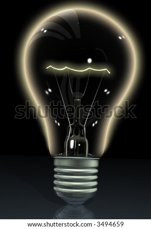 lightbulb made in 3d over a black background