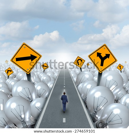 Lightbulb road and Idea path and creative pathway business concept as a businessman walking through a highway as a light bulb group with traffic signs as a metaphor for innovation success leadership. - stock photo