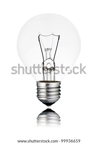 Lightbulb Switched OFF - Golf Ball Shape with Reflection Isolated on White Background - stock photo