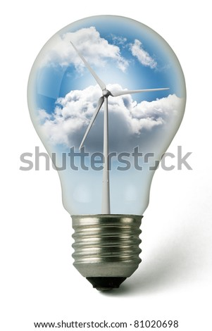 Lightbulb used with clean electricity from wind - stock photo