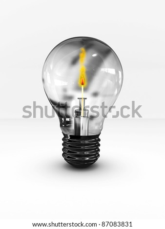 Lightbulb with a lighted match inside. 3D image - stock photo