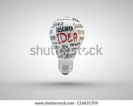 Lightbulb with business tags  isolated on white - stock photo