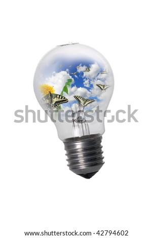 Lightbulb with lots of butterflies flying away - stock photo