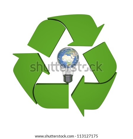 Lightbulb with planet Earth inside recycling symbol, concept of new ideas in environmental protection and conservation. Elements of this image furnished by NASA
