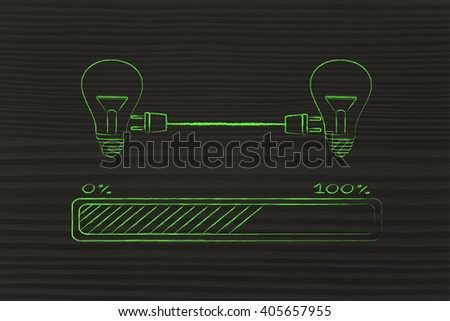 lightbulbs connected with double plug and progress bar, concept of sharing ideas and knowledge - stock photo