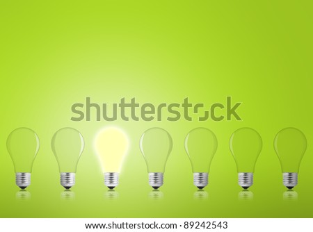 Lightbulbs on a green background