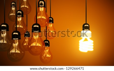 lightbulbs on yellow background, idea concept - stock photo