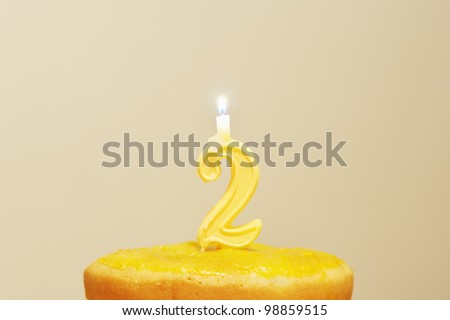 Lighted birthday candles - stock photo