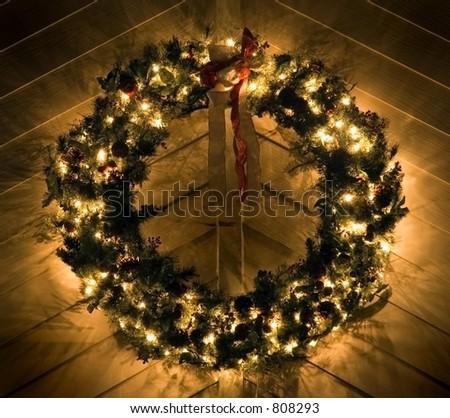 Lighted Christmas Wreath - stock photo