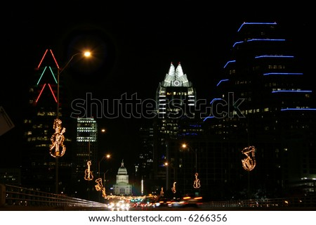 Lighted City of Austin at Night - Heavy traffic on Congress - stock photo