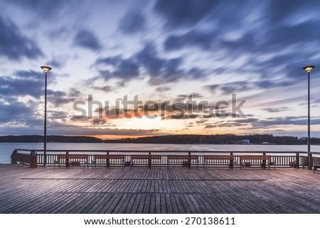 lighted pier - stock photo