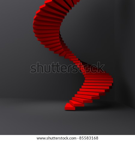 lighted red stairs in dark room - stock photo
