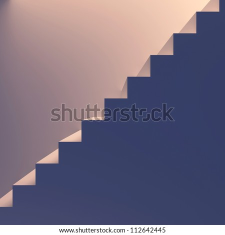 Lighted staircase. End-view. Conception of success or religion. 3d render illustration