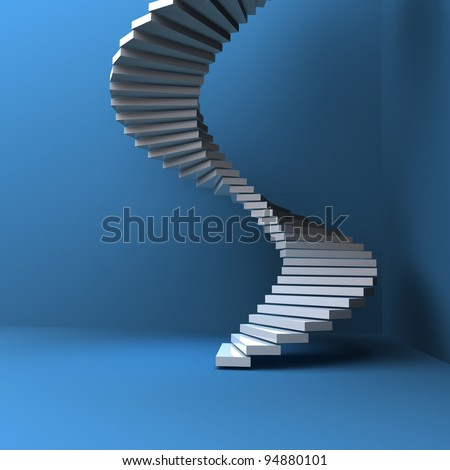 lighted stairs in a dark blue room - stock photo