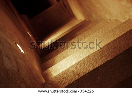 lighted stairway - stock photo