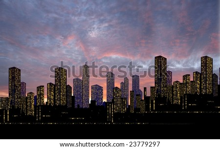 lighted up center of city from the setting sun - stock photo
