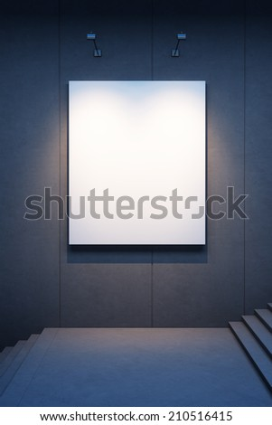 lighten blank billboard on a concrete wall at night - stock photo