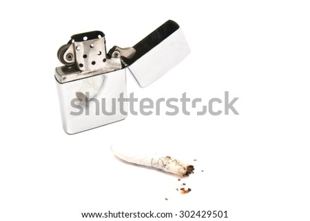 lighter and cigarette butt with filter on white  - stock photo