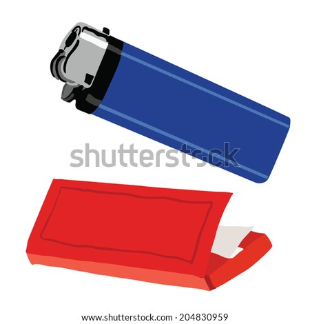 White Lighter Drawing Lighter And Cigarette Paper