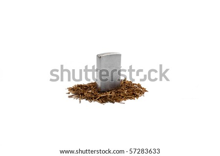 Lighter and heap of tobacco