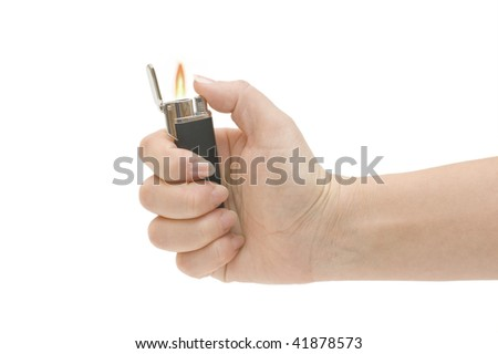 Lighter in a hand isolated on white