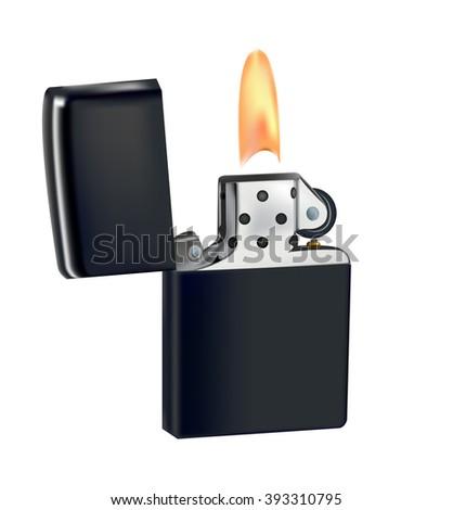 lighter on liquid fuel . fire . iron case . flint . illustration . - stock photo