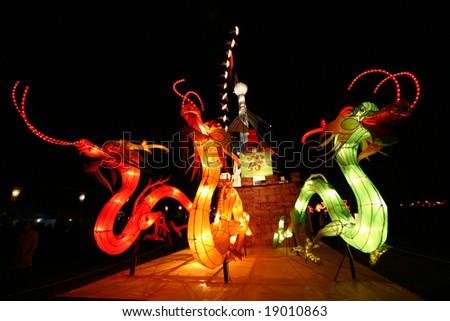 lightful dragons in chinese lantern festival celebrating new year - stock photo