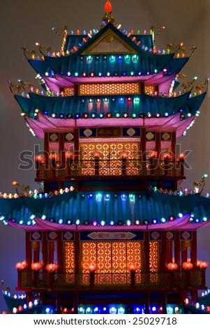 Lightful tower in chinese lantern festival - stock photo