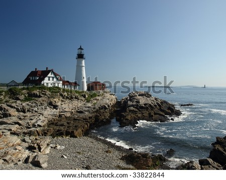 Lighthouse along the coast of Maine in the summer time