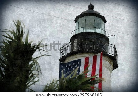 Lighthouse and American Flag Painting